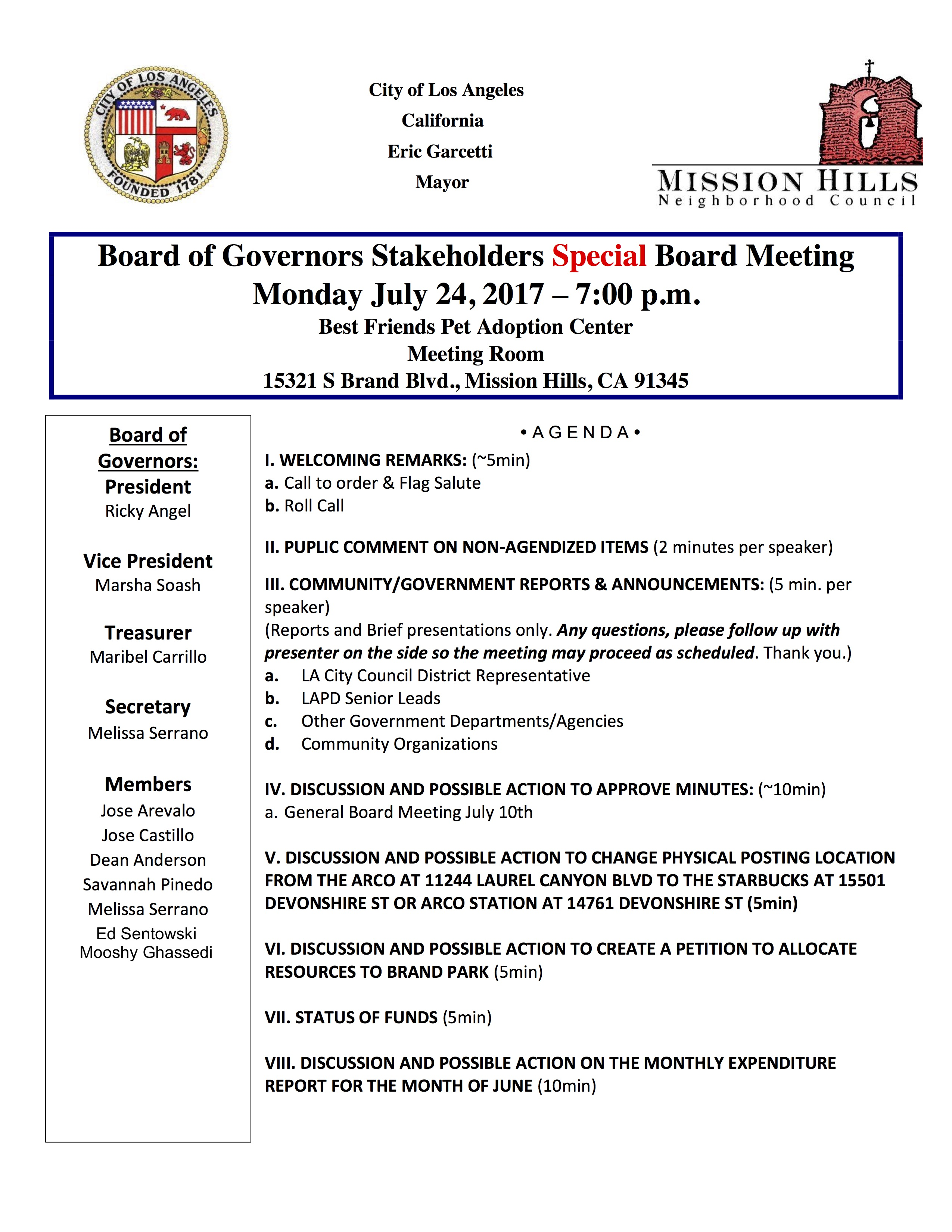 July 24th Agenda Mission Hills Special