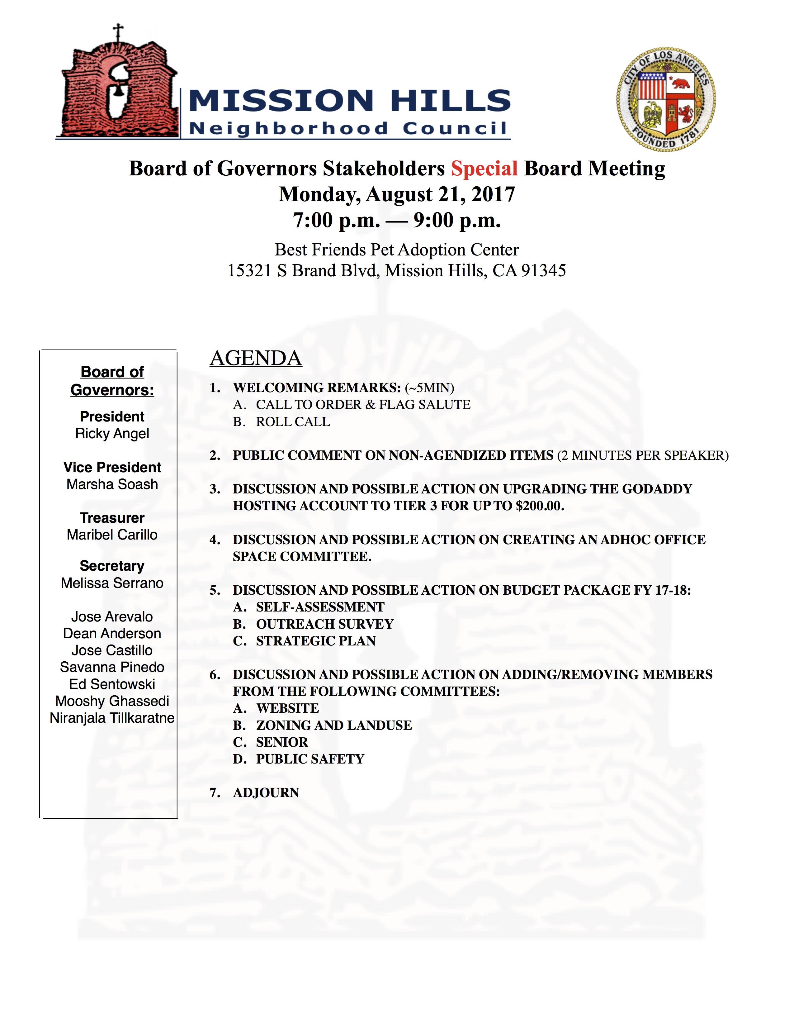 Board Meeting Agenda 8.21.17