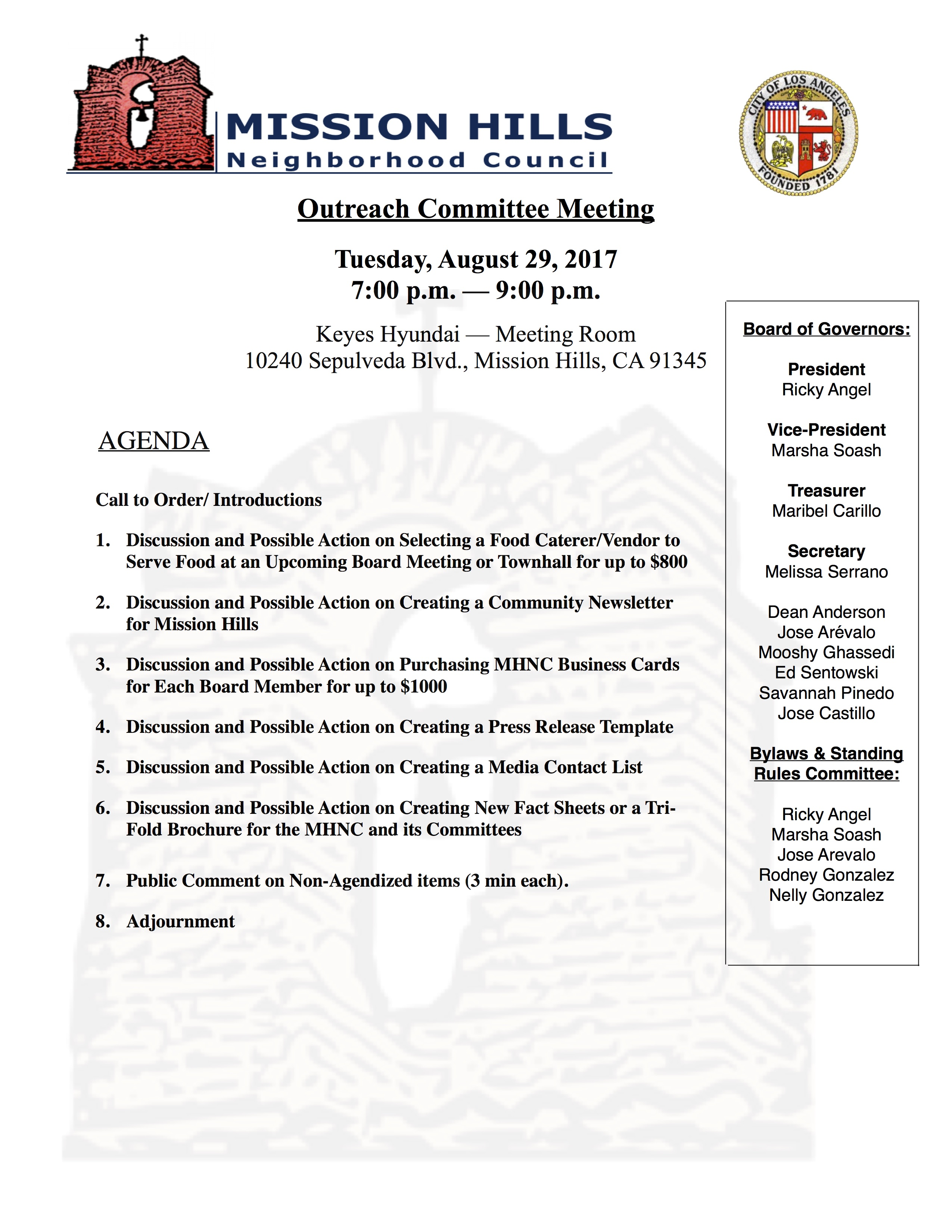 Outreach Committee Agenda 8.29.1