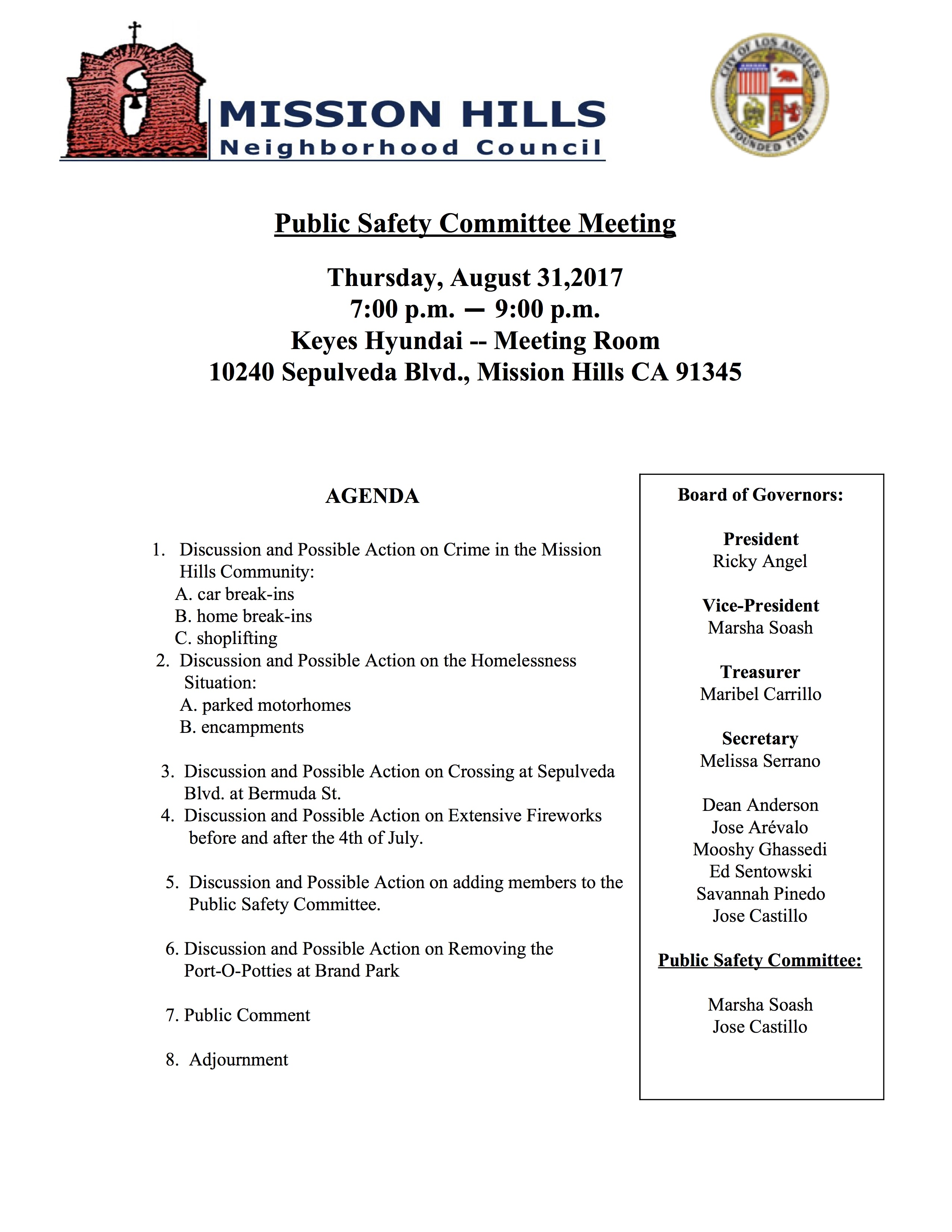 Public Safety Committee Agenda