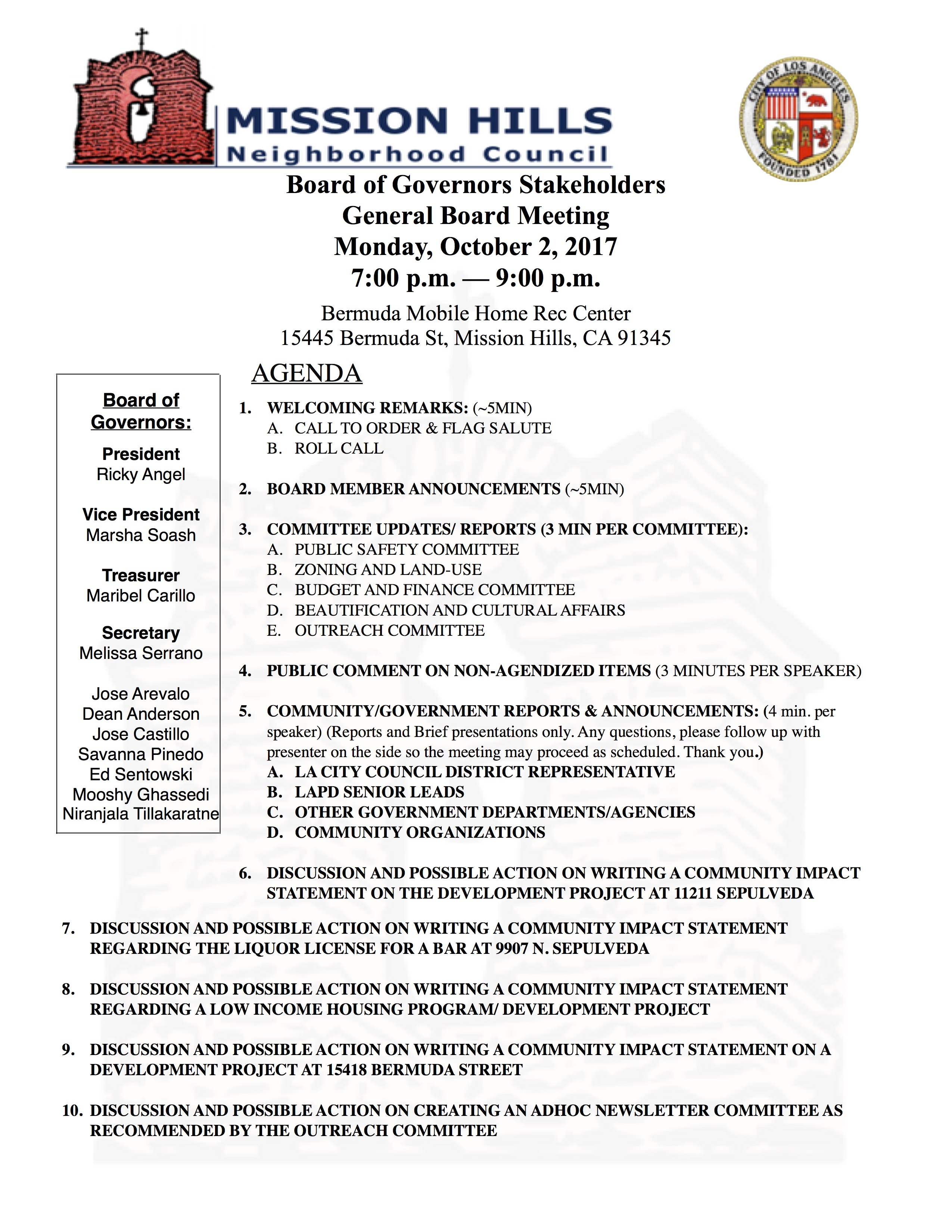 October 2, 2017 Agenda