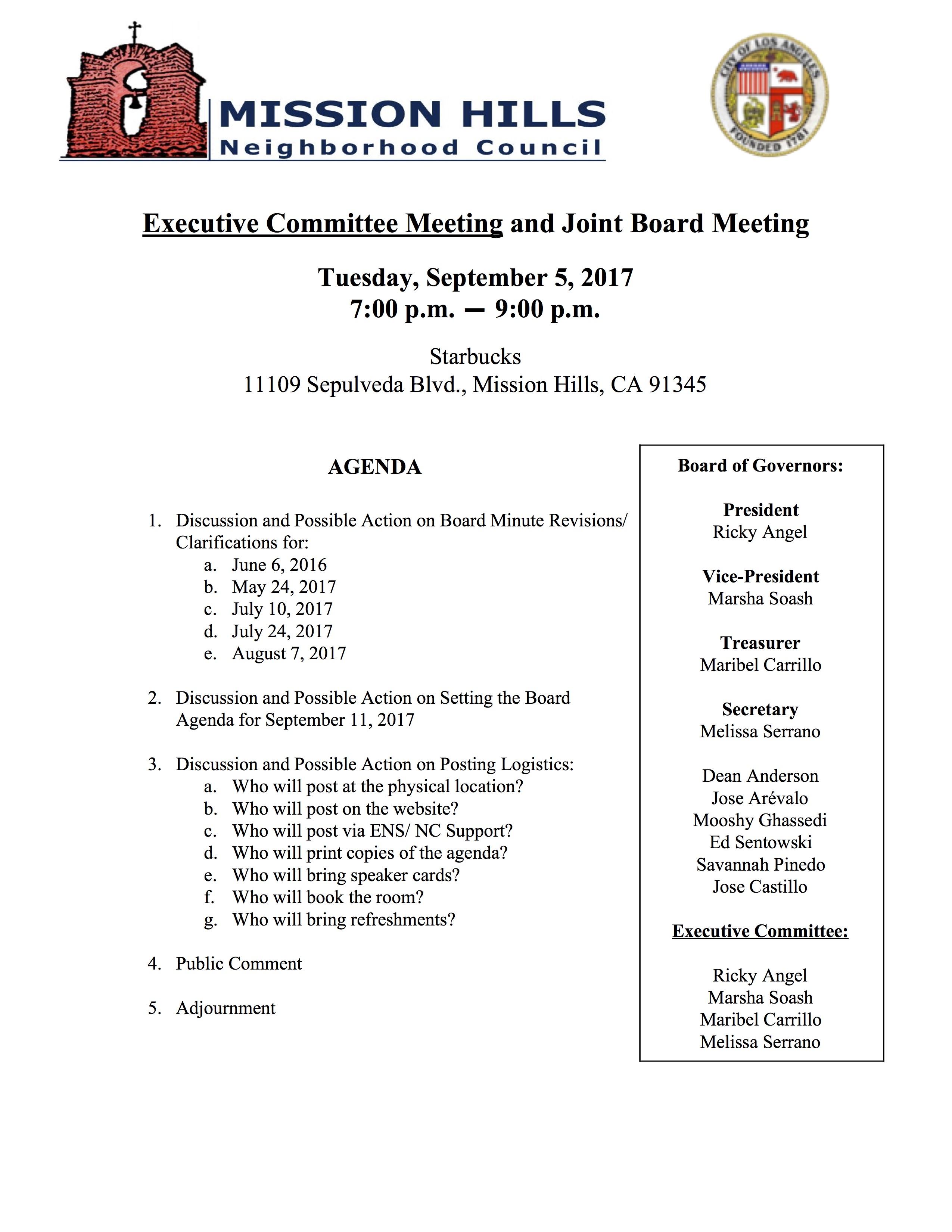Executive Agenda 9.5.17
