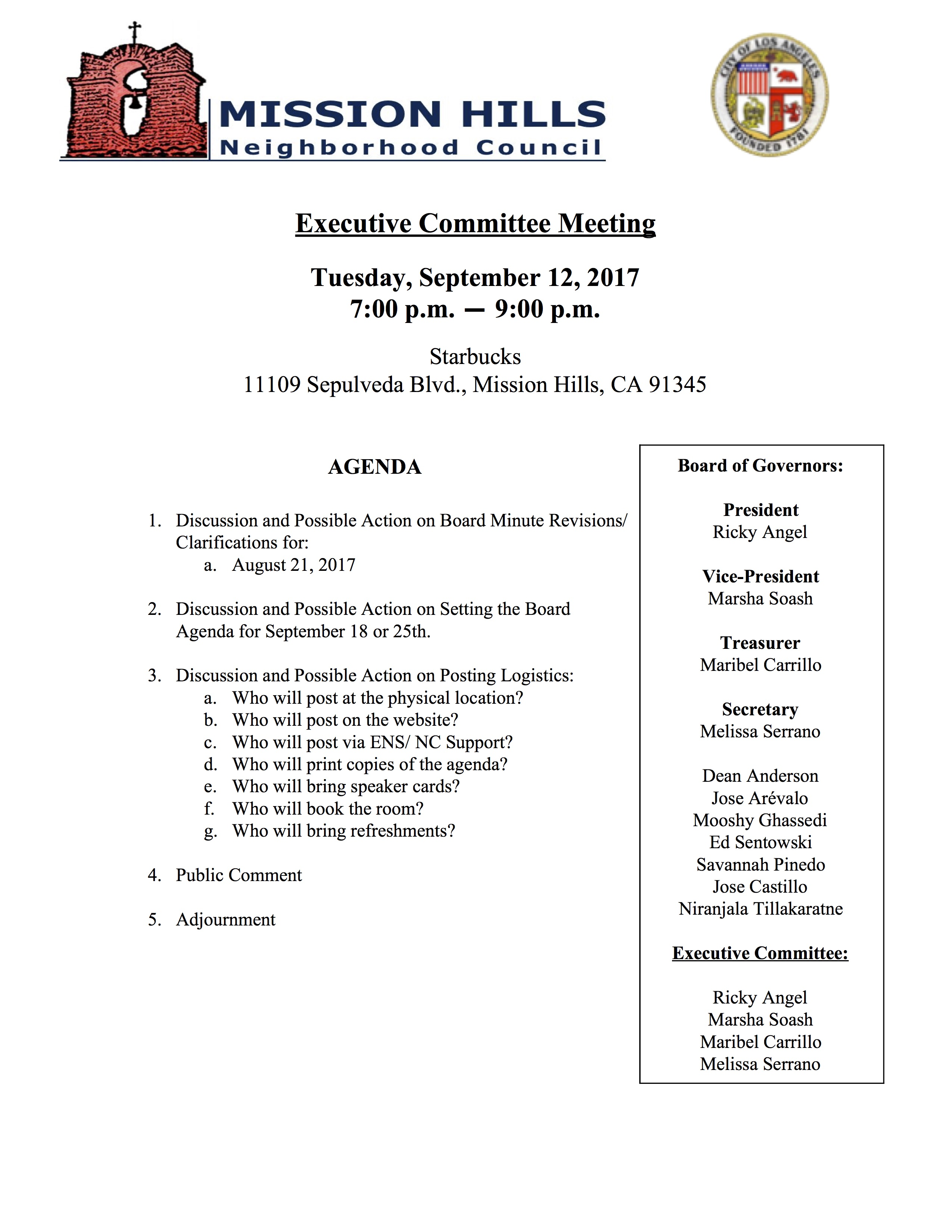 Executive Committee Agenda September 12, 2017