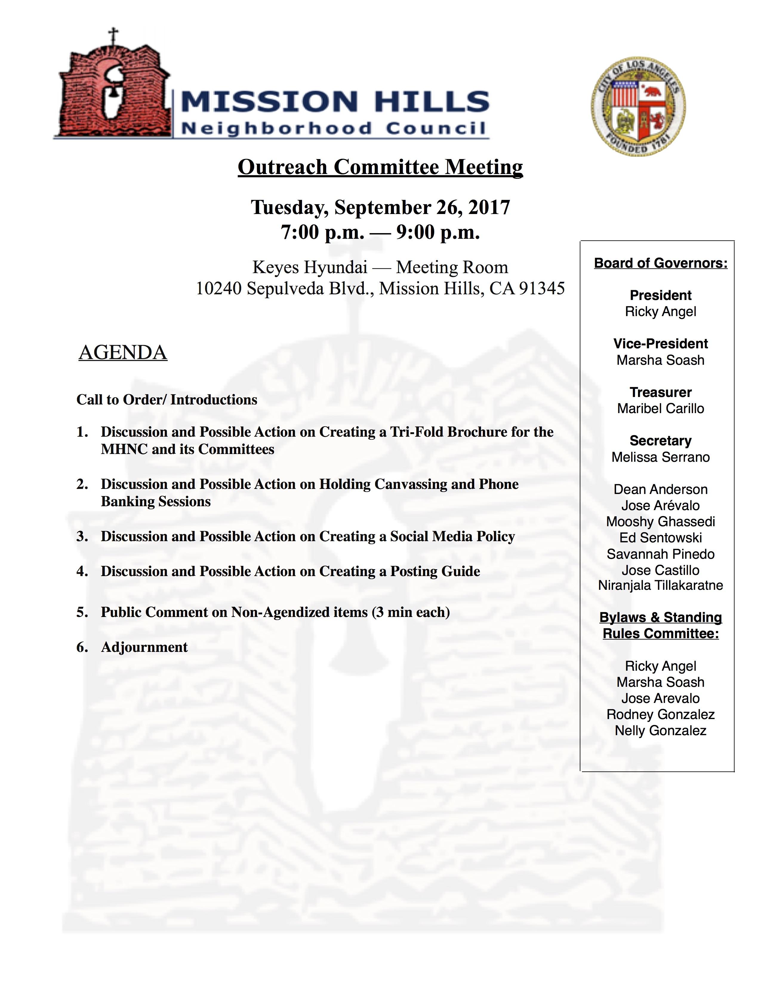 Outreach Meeting Agenda 9.26.17