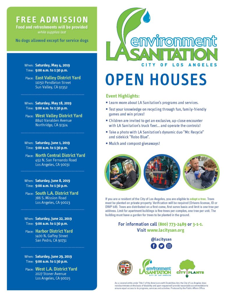Sanitation Open House Locations