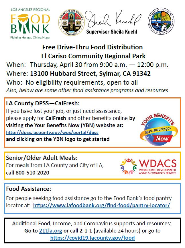 Drive through food distribution