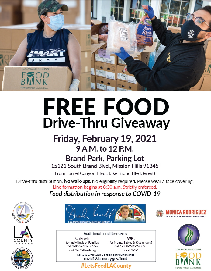 free food drive through at Brand Park