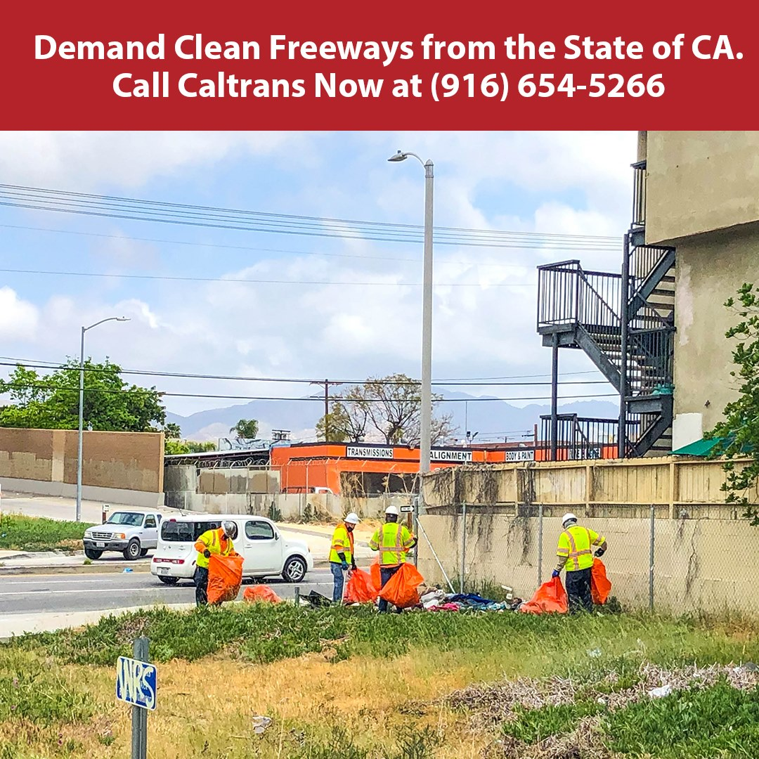 Caltrans cleaning freeway
